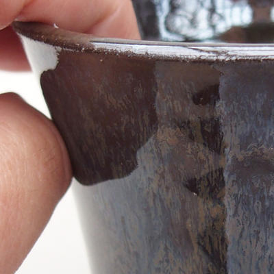 Ceramic bonsai bowl 9 x 9 x 9 cm, color brown - 2
