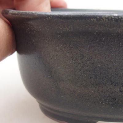 Ceramic bonsai bowl 12 x 10 x 5 cm, gray color - 2