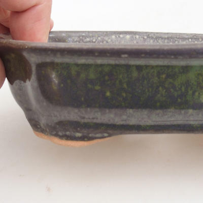 Ceramic bonsai bowl 15.5 x 12 x 4.5 cm, color green - 2