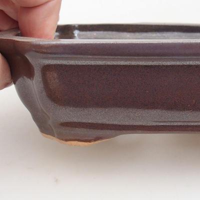 Ceramic bonsai bowl 15.5 x 12 x 4.5 cm, brown color - 2