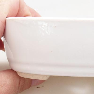 Ceramic bonsai bowl 12.5 x 8.5 x 3.5 cm, white color - 2
