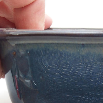 Ceramic bonsai bowl 13 x 10 x 5.5 cm, brown-blue color - 2