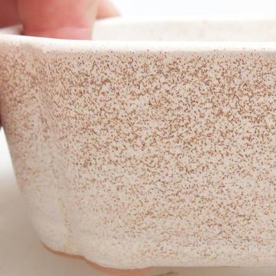 Ceramic bonsai bowl 12 x 9.5 x 4 cm, beige color - 2
