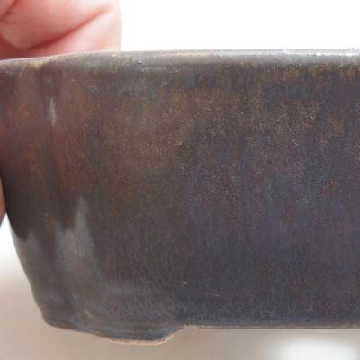Ceramic bonsai bowl 12 x 9.5 x 4 cm, metal color - 2