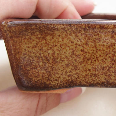 Ceramic bonsai bowl 9.5 x 7 x 3 cm, brown color - 2