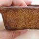Ceramic bonsai bowl 9.5 x 7 x 3 cm, brown color - 2/4