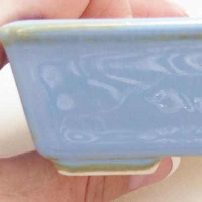 Ceramic bonsai bowl 10.5 x 8.5 x 3 cm, color blue - 2