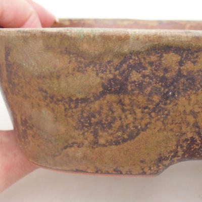 Ceramic bonsai bowl 23 x 18 x 5 cm, color brown-green - 2