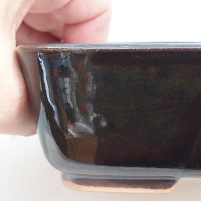 Ceramic bonsai bowl 15 x 12 x 4.5 cm, color brown-green - 2