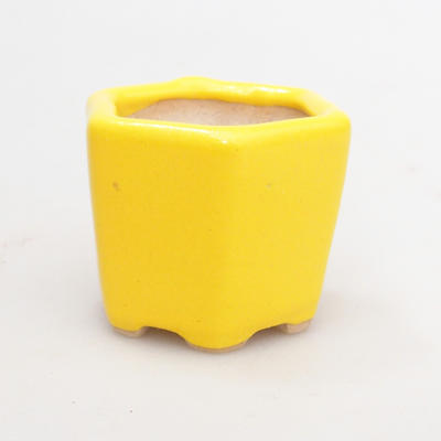 Mini bonsai bowl 4 x 4 x 3,5 cm, yellow color - 2