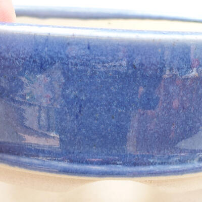 Ceramic bonsai bowl 11.5 x 11.5 x 4 cm, color blue - 2