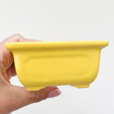 Ceramic bonsai bowl 9.5 x 7.5 x 4.5 cm, yellow color - 2