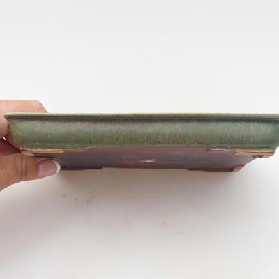 Ceramic bonsai bowl 17 x 13 x 2 cm, color green - 2