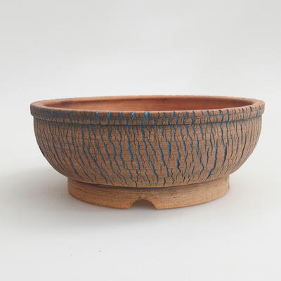 Ceramic bonsai bowl 17 x 17 x 6 cm, brown-blue color - 2