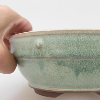 Ceramic bonsai bowl - 16 x 16 x 6 cm, color green - 2