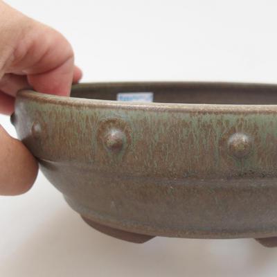 Ceramic bonsai bowl - 16,5 x 16,5 x 5,5 cm, color green - 2