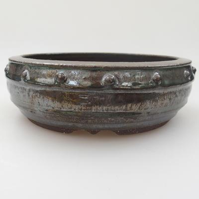 Ceramic bonsai bowl - 17 x 17 x 5,5 cm, color green - 2