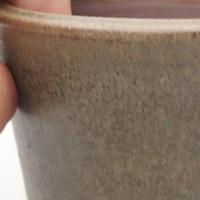 Ceramic bonsai bowl 10.5 x 10.5 x 9 cm, brown-green color - 2