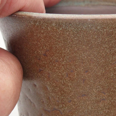 Ceramic bonsai bowl 9.5 x 9.5 x 10.5 cm, brown color - 2