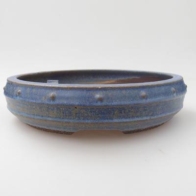 Ceramic bonsai bowl - 23,5 x 23,5 x 5,5 cm, blue color - 2