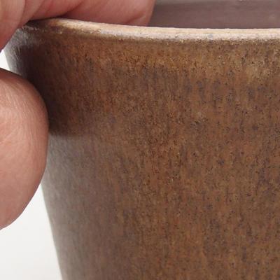 Ceramic bonsai bowl 10.5 x 10.5 x 9.5 cm, beige color - 2