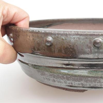 Ceramic bonsai bowl - 25,5 x 25,5 x 6,5 cm, color green - 2