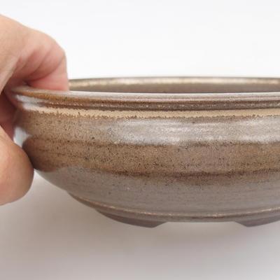 Ceramic bonsai bowl - 15,5 x 15,5 x 5 cm, brown color - 2