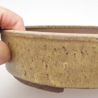 Ceramic bonsai bowl - 22 x 22 x 6 cm, brown-yellow color - 2
