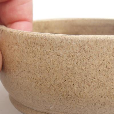 Ceramic bonsai bowl 10 x 10 x 4,5 cm, color beige - 2