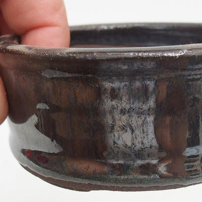 Ceramic bonsai bowl 7,5 x 7,5 x 3,5 cm, color green - 2