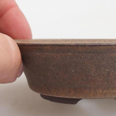 Ceramic bonsai bowl 10.5 x 10.5 x 3 cm, brown color - 2