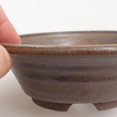 Ceramic bonsai bowl 12 x 12 x 4 cm, brown color - 2