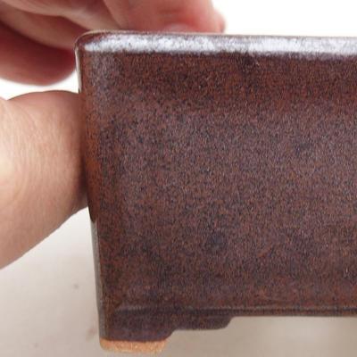 Ceramic bonsai bowl 8 x 8 x 4.5 cm, brown color - 2