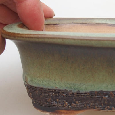 Ceramic bonsai bowl 12 x 9 x 5 cm, color green - 2
