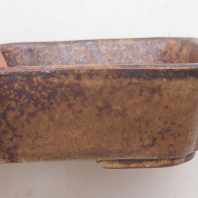 Ceramic bonsai bowl 12.5 x 9.5 x 3 cm, color brown-green - 2nd quality - 2