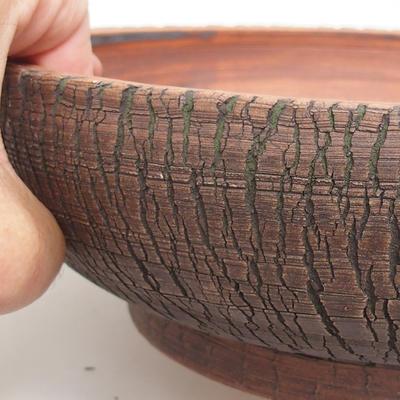 Ceramic bonsai bowl 25 x 25 x 7 cm, brown-green color - 2