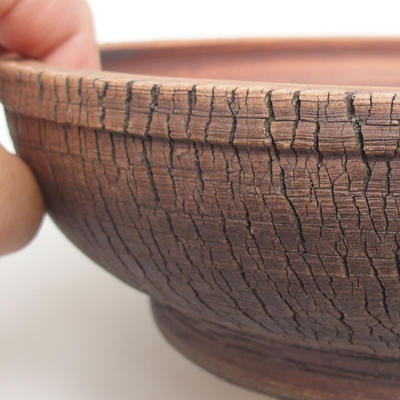 Ceramic bonsai bowl 23,5 x 23,5 x 6,5 cm, color brown - 2