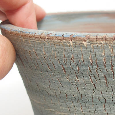 Ceramic bonsai bowl 14,5 x 14,5 x 11 cm, brown-blue color - 2