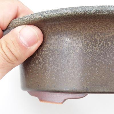 Ceramic bonsai bowl 23 x 18,5 x 6,5 cm, brown-blue color - 2