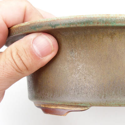 Ceramic bonsai bowl 23 x 18,5 x 6,5 cm, brown-green color - 2