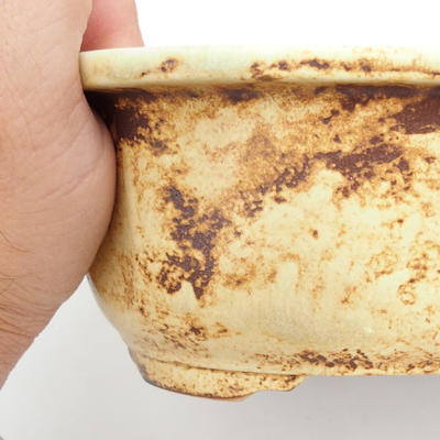 Ceramic bonsai bowl 25 x 21 x 7,5 cm, brown-yellow color - 2