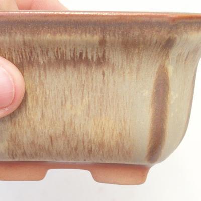 Bonsai bowl 11 x 11 x 6.5 cm, brown-beige color - 2