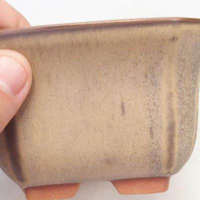 Bonsai bowl 12 x 12 x 7 cm, brown-beige color - 2