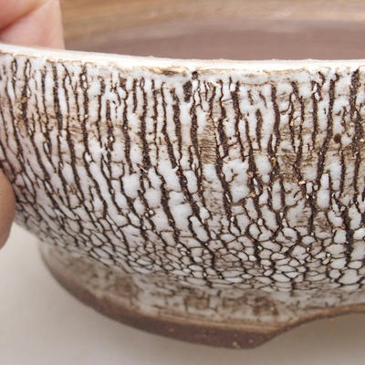 Ceramic bonsai bowl 16.5 x 16.5 x 6 cm, white color - 2