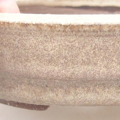 Ceramic bonsai bowl 18 x 18 x 4.5 cm, beige color - 2