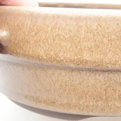 Ceramic bonsai bowl 17.5 x 17.5 x 5.5 cm, brown color - 2