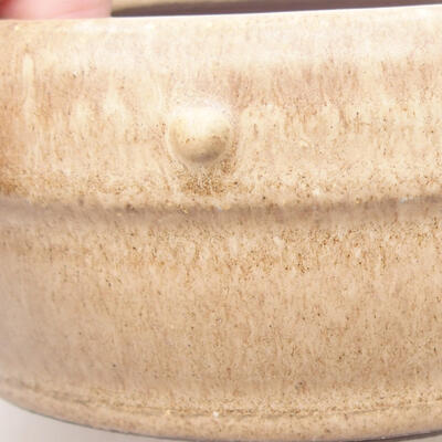 Ceramic bonsai bowl 13.5 x 13.5 x 5.5 cm, beige color - 2