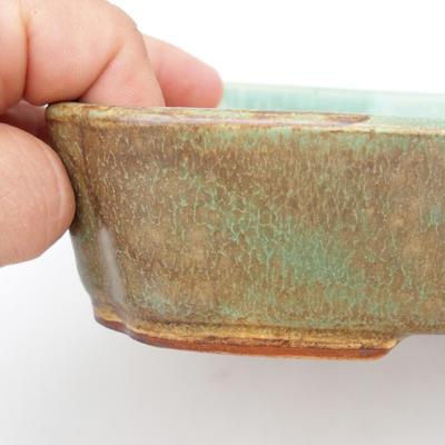 Ceramic bonsai bowl 2nd quality - 23,5 x 17 x 4,5 cm, brown-green color - 2