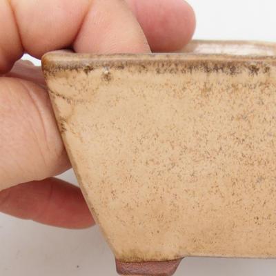 Ceramic bonsai bowl 2nd quality - 9 x 9 x 5,5 cm, color beige - 2