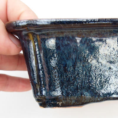 Ceramic bonsai bowl 2nd quality - 17,5 x 13 x 6 cm, brown-blue color - 2